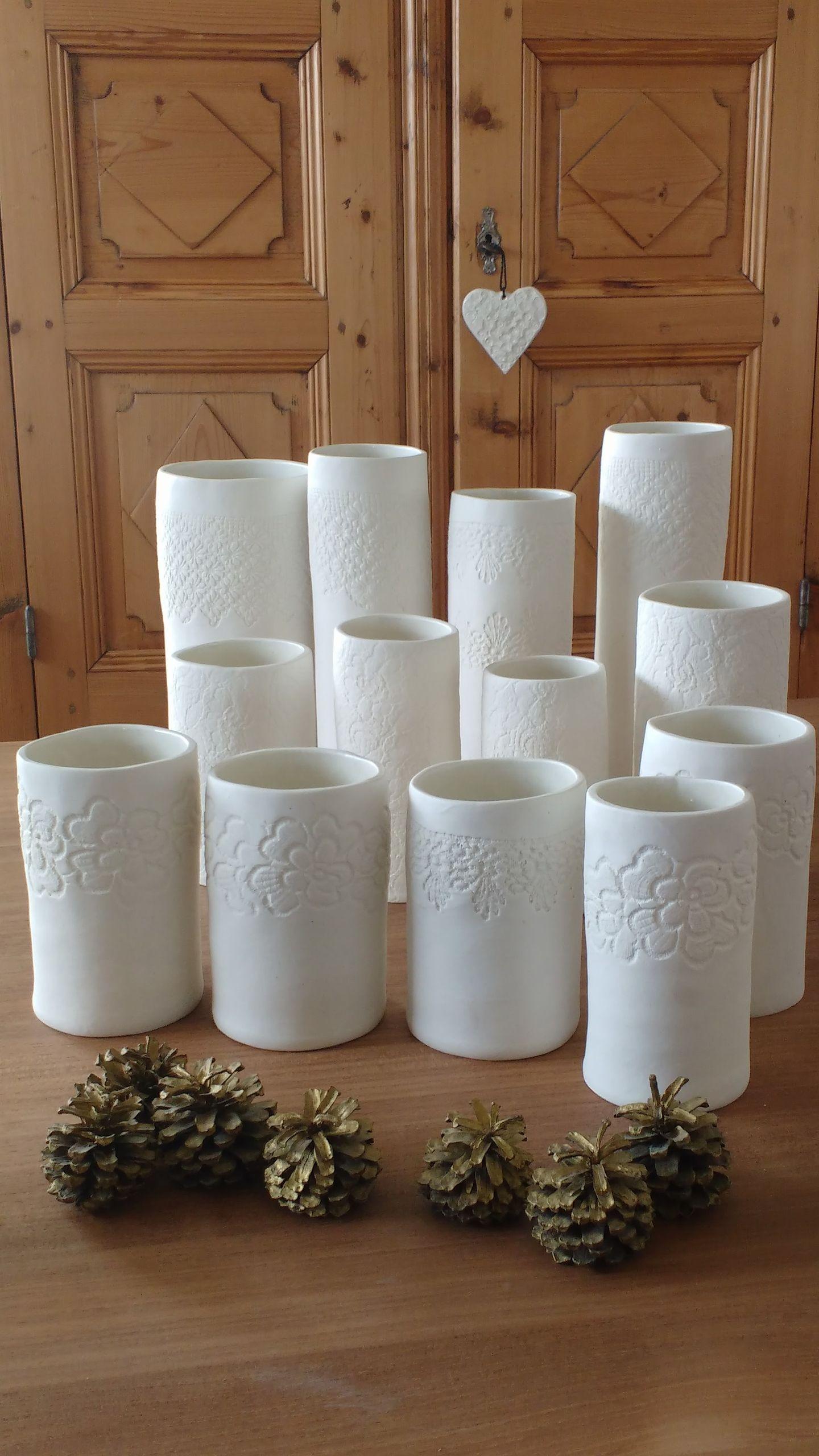 Lot vases dentelle